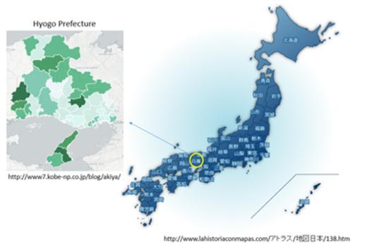 일본 열도상에 효고현 위치